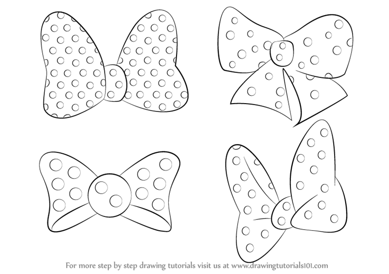 800x563 Learn How To Draw Minnie Mouse Bow Tie (Minnie Mouse) Step By Step