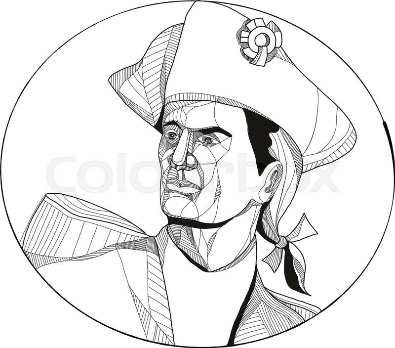 800x704 Doodle Art Illustration Of An American Patriot, Minuteman