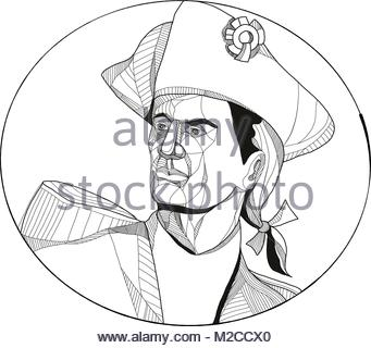 341x320 Doodle Art Illustration Of An American Patriot, Minuteman Or Stock