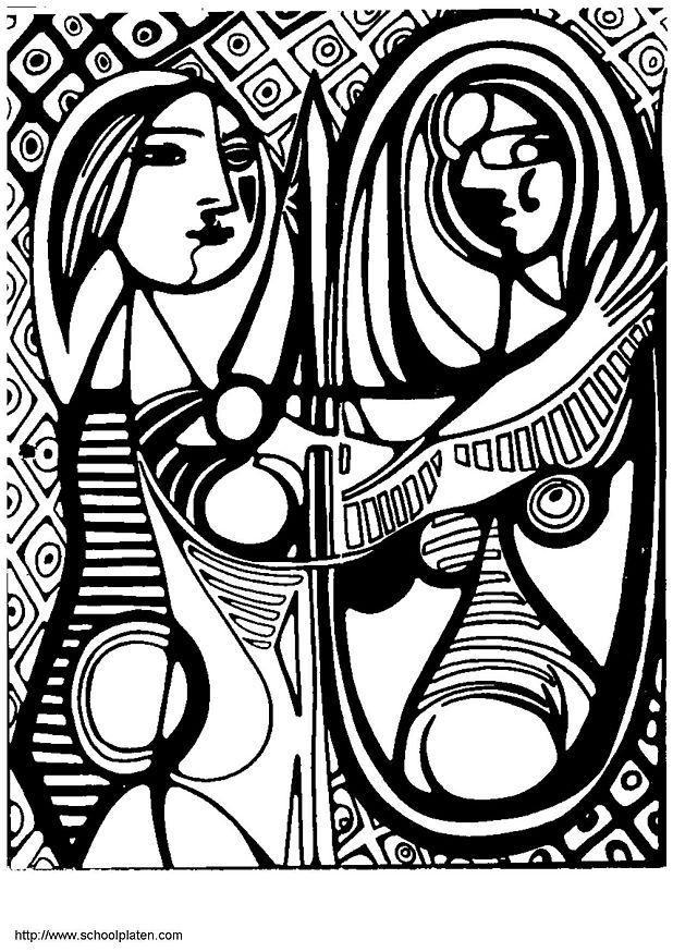 618x874 Coloring Page Picasso Girl In Front Of Mirror