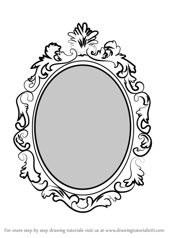 567x800 Learn How To Draw Beautiful Mirror (Everyday Objects) Step By Step