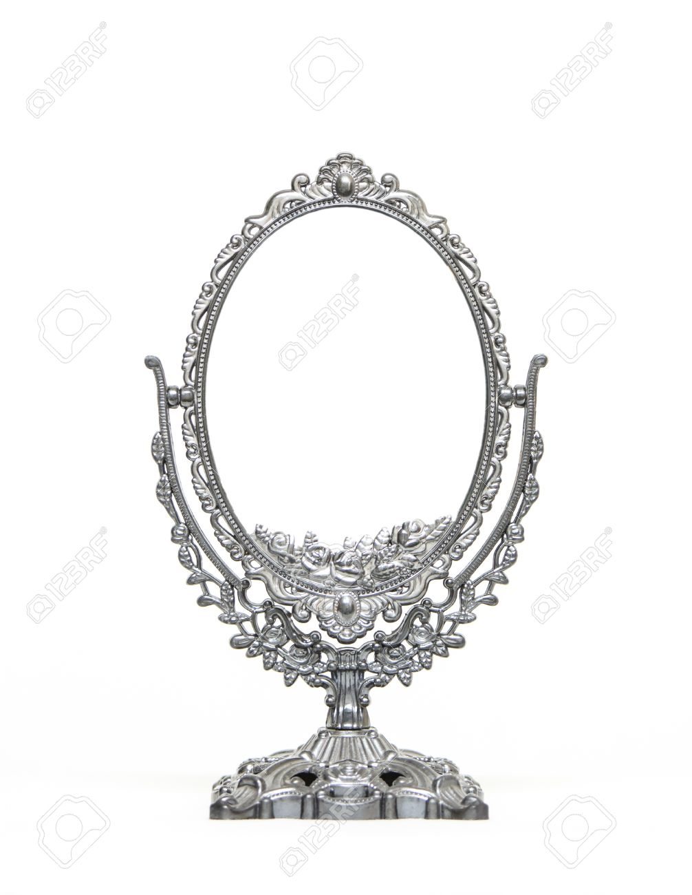1006x1300 Silver Vintage Mirror Isolated On White Background Stock Photo