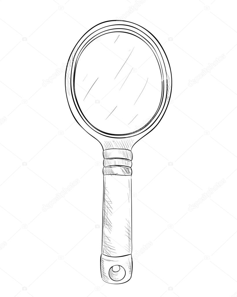 819x1024 Sketch Of Hand Mirror Stock Vector Beatwalk