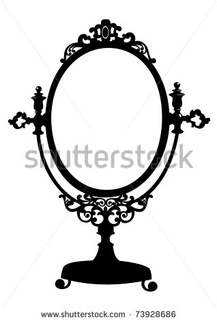 318x470 Vintage Hand Mirror Drawing