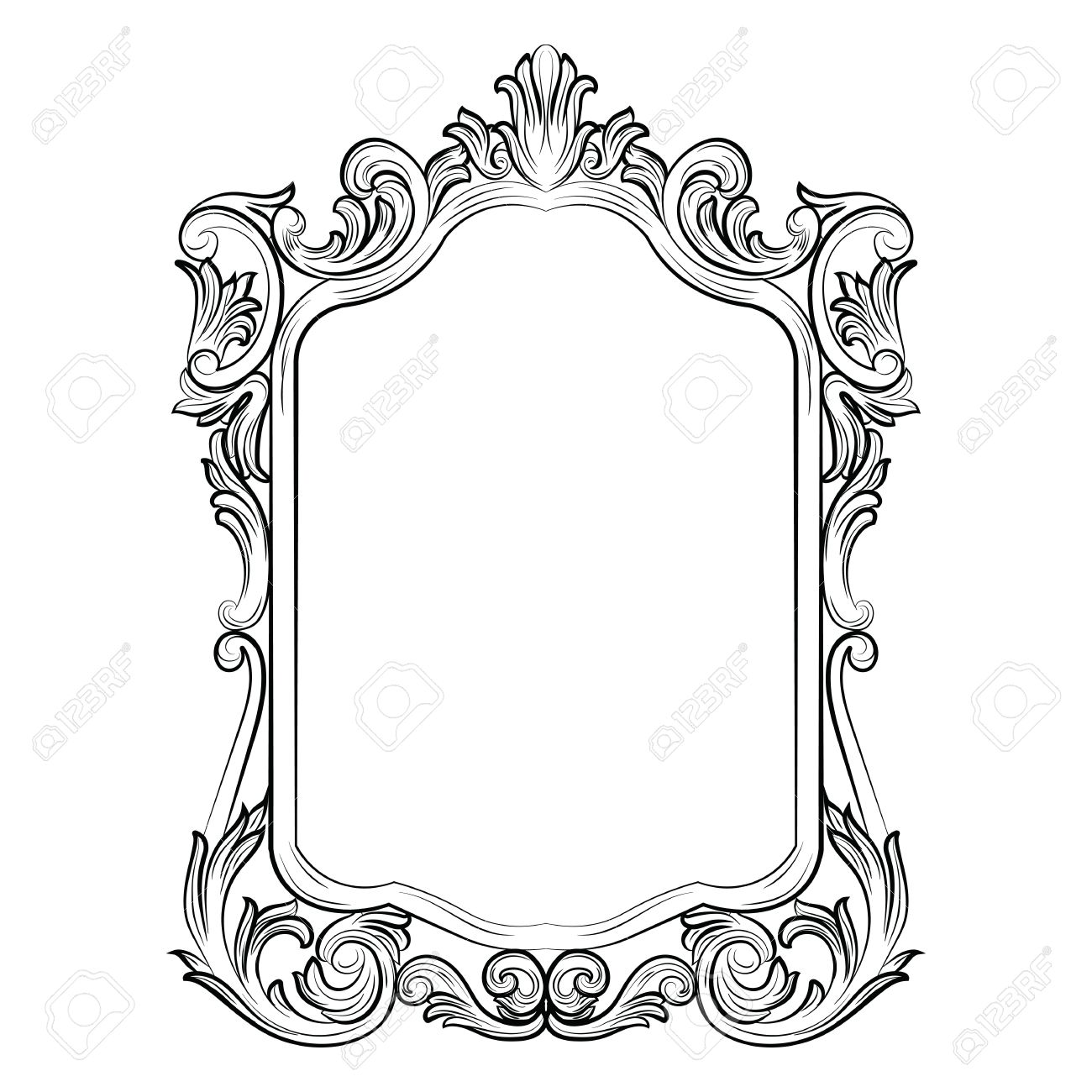 1300x1300 Baroque Rococo Mirror Frame Decor. Vector French Luxury Rich