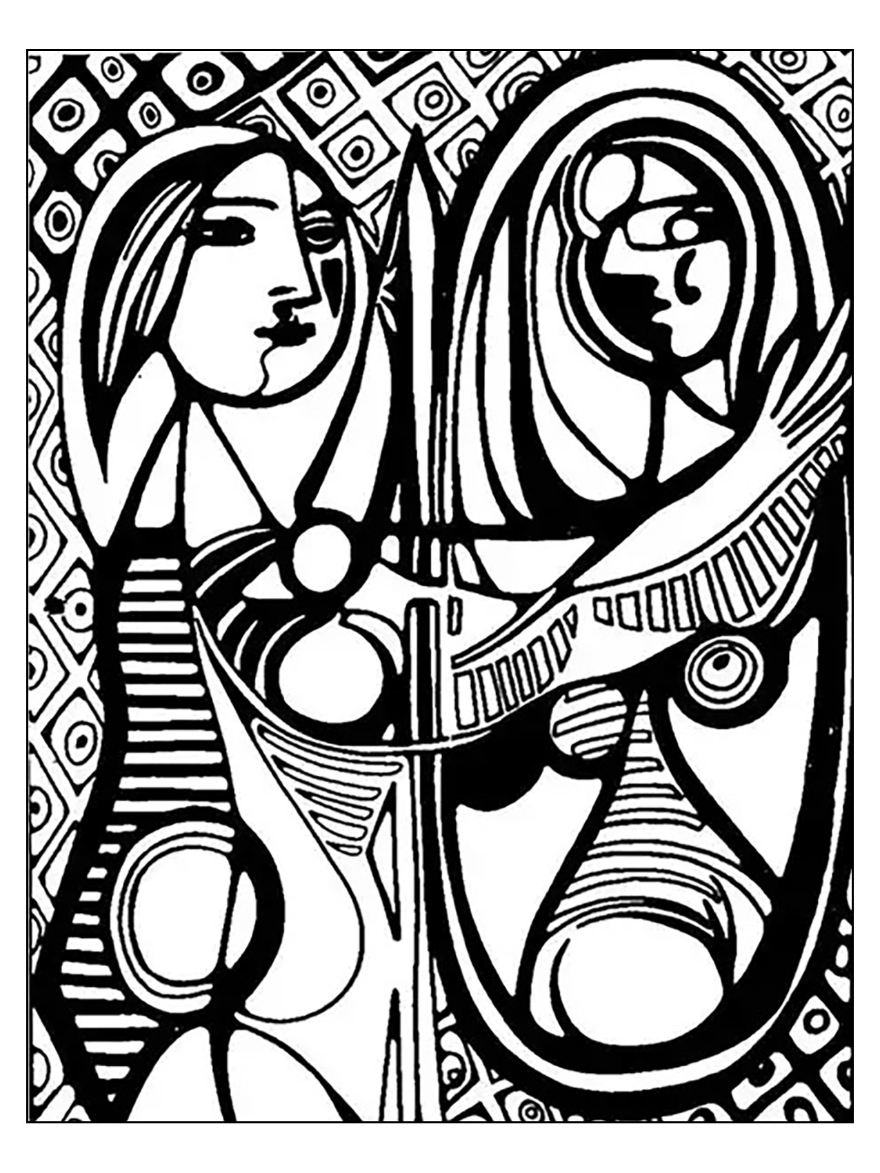 1276x1701 Free Coloring Page Coloring Adult Picasso Girl Before A Mirror