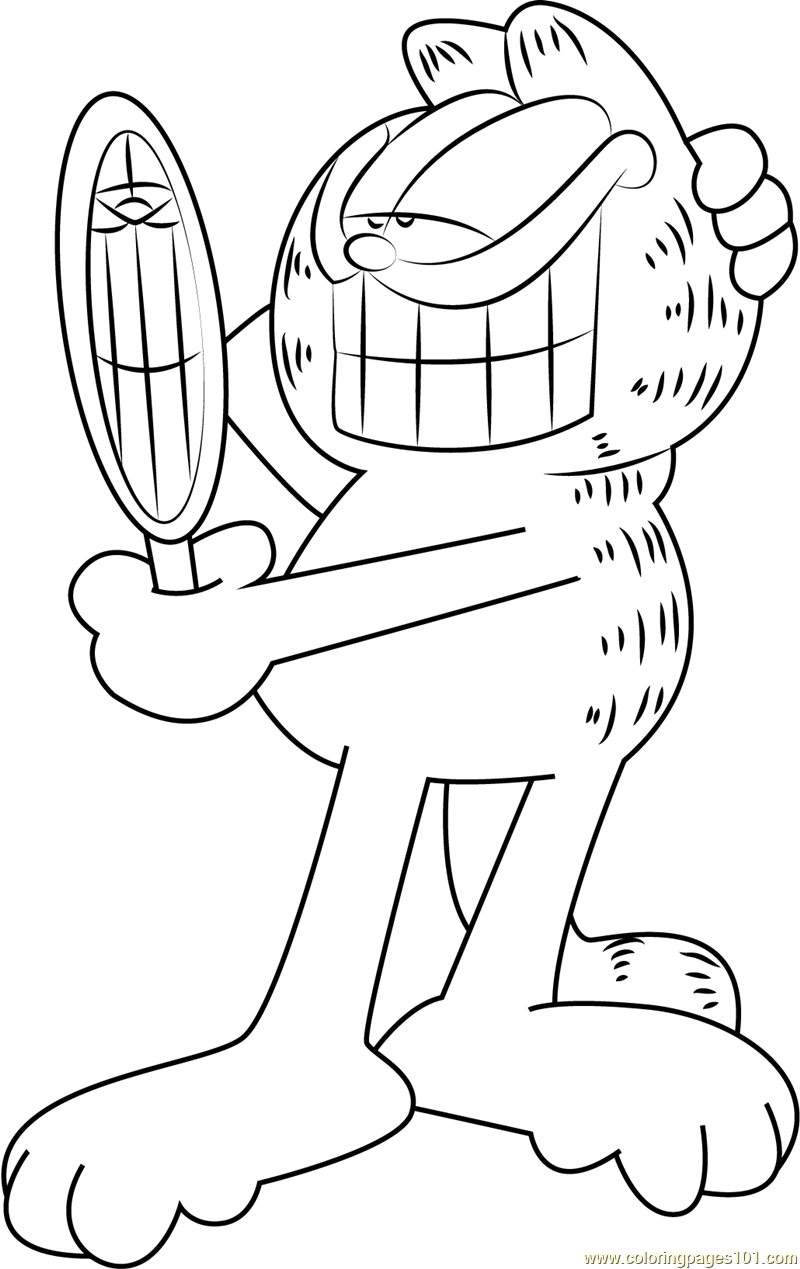 800x1269 Garfield See In Mirror Coloring Page