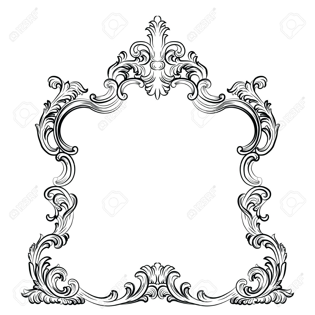1300x1300 Luxury Baroque Rococo Mirror Frame Set. Vector French Luxury