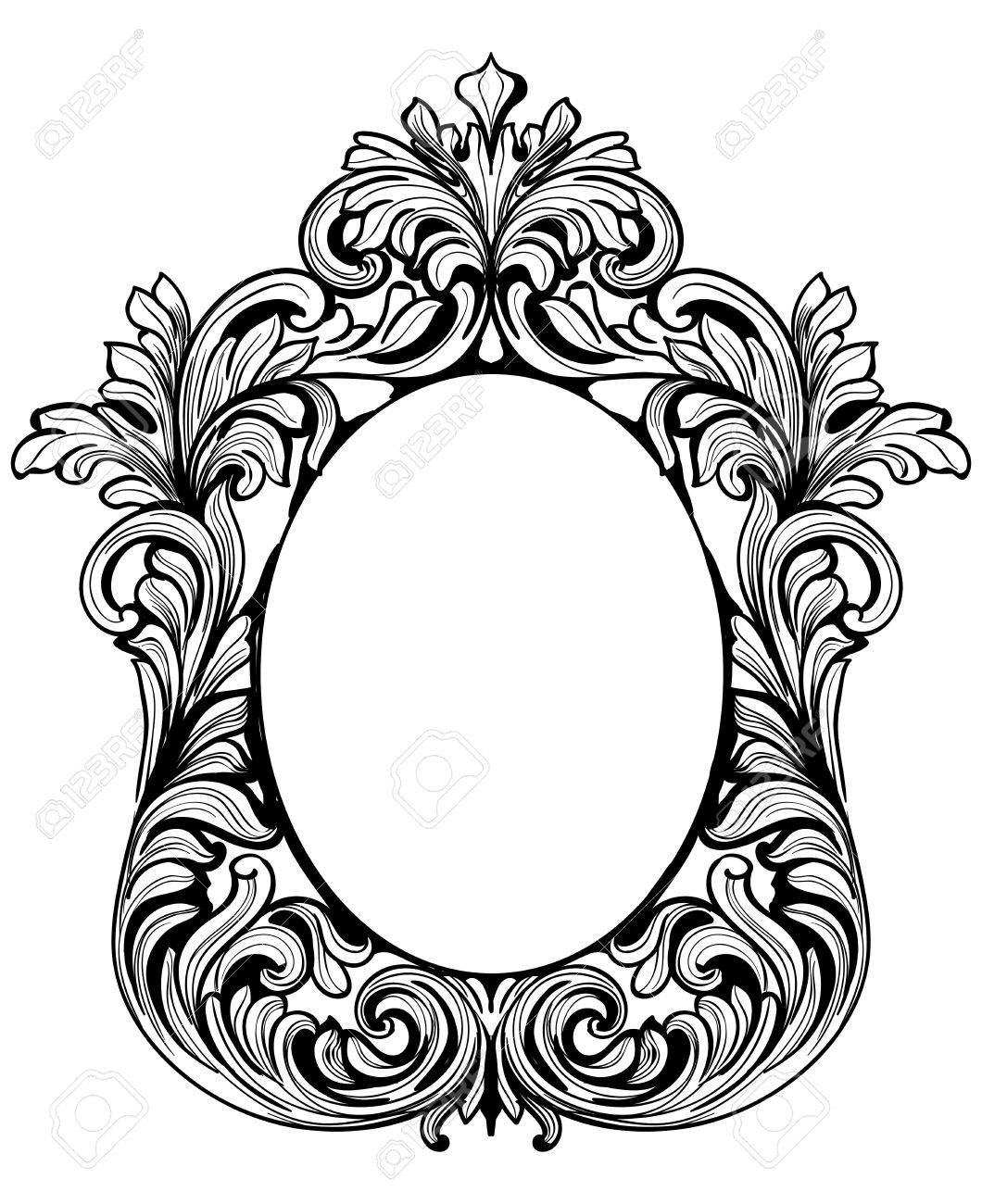 1060x1300 Fabulous Baroque Mirror Frame Set. Vector French Luxury Rich