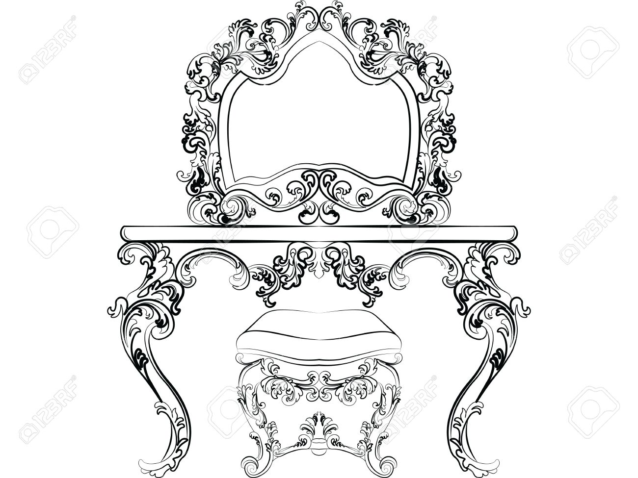 1300x975 Baroque Imperial Style Furniture. Dressing Table And Mirror Set