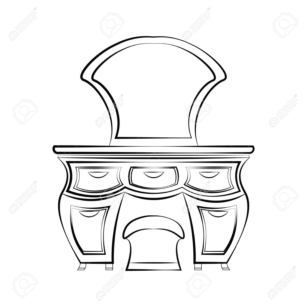 1300x1300 Dressing Table With Mirror In Art Deco Style. Vector Sketch