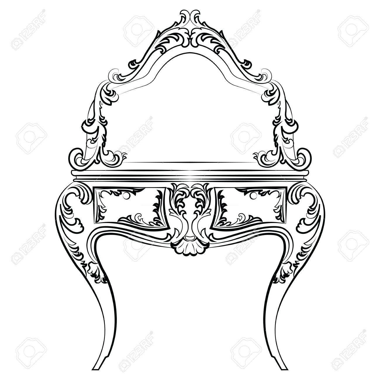 1300x1300 Dressing Table With Mirror In Classic Baroque Style With Luxurious