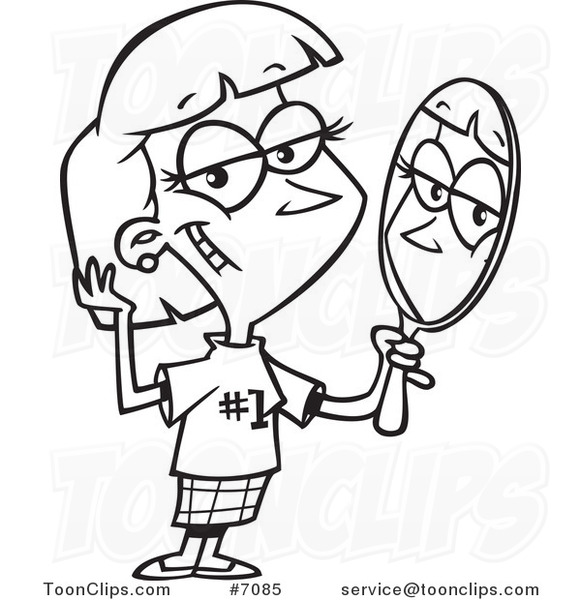 581x600 Cartoon Blacknd White Line Drawing Of Lady Staring Vainly In