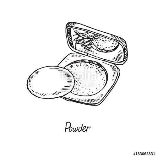 500x500 Face Powder Box Open Mirror, Hand Drawn Doodle Sketch
