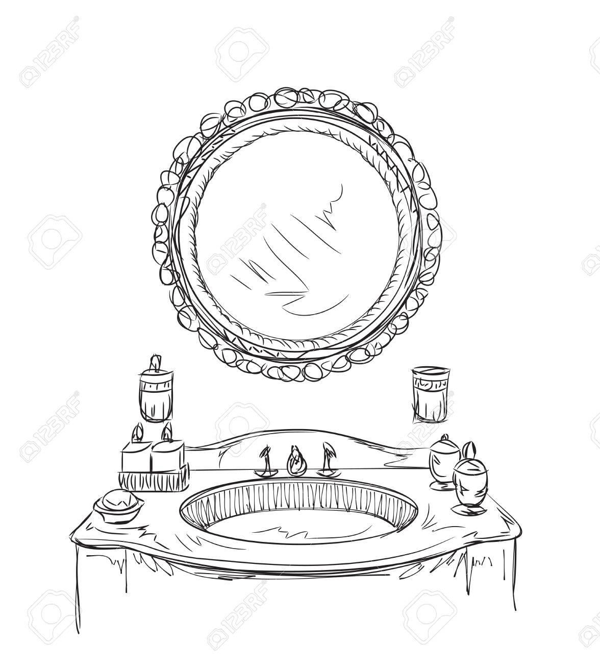 1176x1300 Bathroom Interior Elements. Hand Drawn Mirror Sketch. Royalty Free