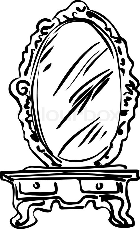 490x800 Sketch Of Large Mirror On A Dressing Table Stock Vector Colourbox