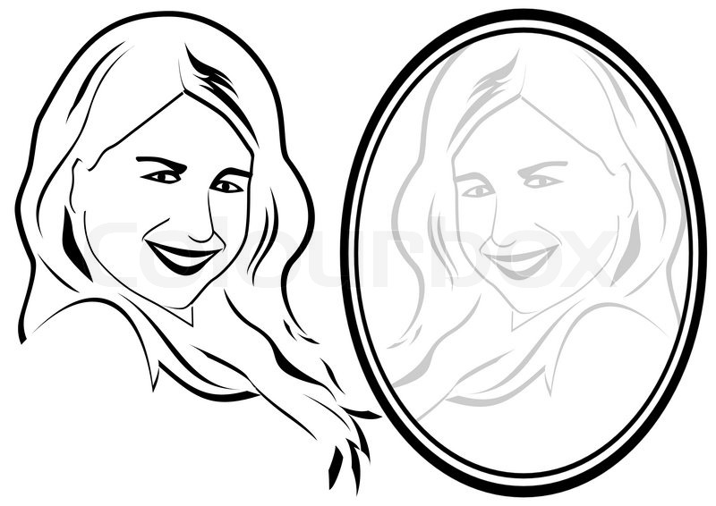 800x566 The Woman In The Mirror Stock Vector Colourbox
