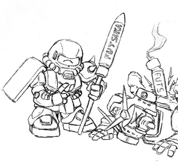 600x545 Sd Zaku And Futsuka Missiles By Darcad