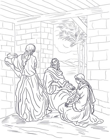 380x480 Jesus Visits Mary And Martha Coloring Page From Jesus Mission