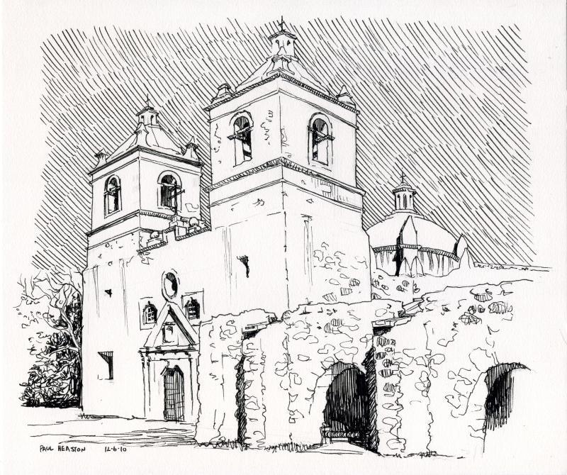 800x670 Mission San Antonio Drawing California Mission San Antonio