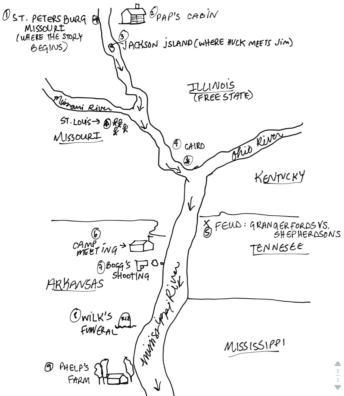 1111x1280 Huckleberry Finn Map Uptowncritters