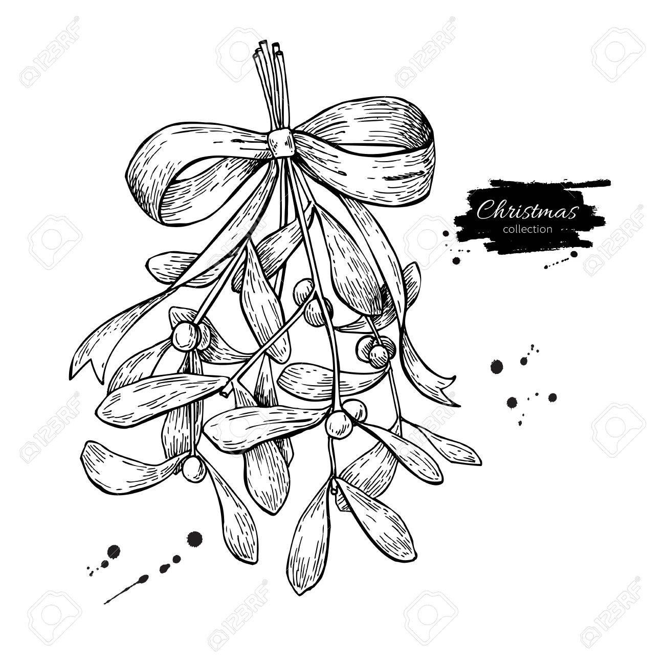 1300x1300 Mistletoe With Bow And Ribbon. Christmas Decor Plant. Hand Drawn