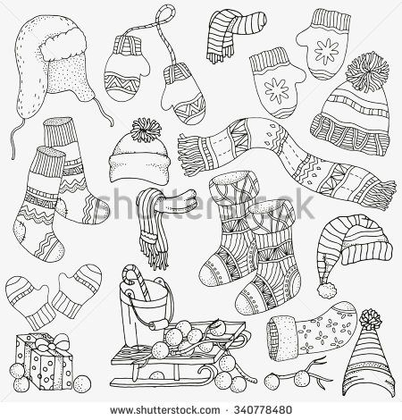 450x470 Set Of Winter Sketches. Warm Clothes, Scarf, Hats, Mittens, Socks