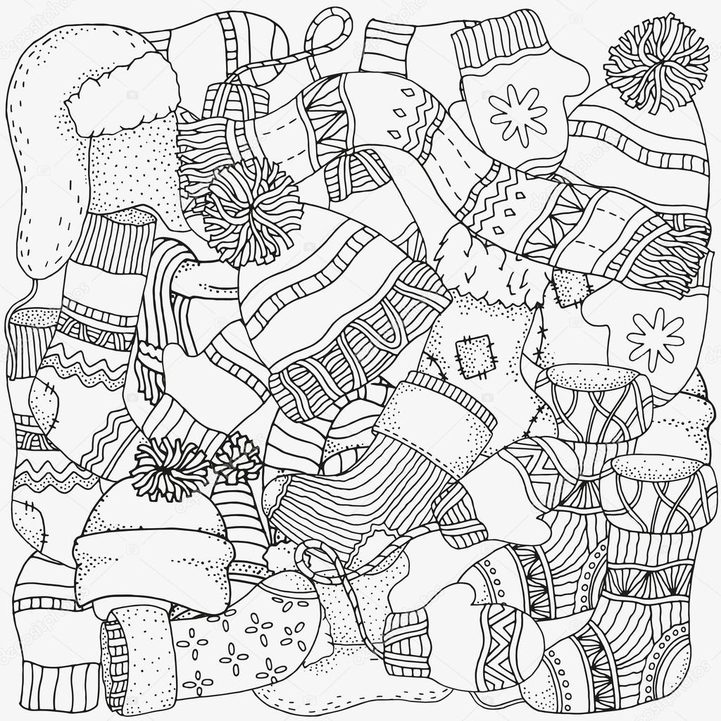 1024x1024 Winter Sketches. Warm Clothes, Scarf, Hats, Mittens, Socks