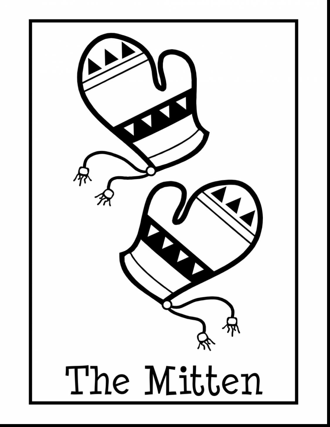 1126x1458 Terrific Preschool Mitten Template With Mitten Coloring Page