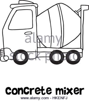300x342 Concrete Mixer With Hand Draw Stock Vector Art Amp Illustration