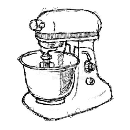440x440 Scribble Series Food Mixer Stock Vector