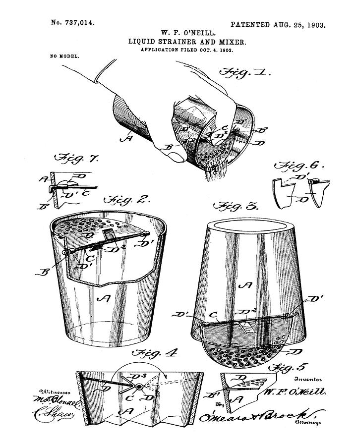 712x900 Cocktail Mixer Patent 1903 Drawing By Bill Cannon