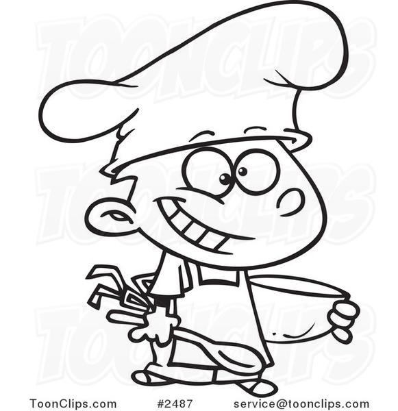581x600 Cartoon Blacknd White Line Drawing Of Happy Chef Boy Holding