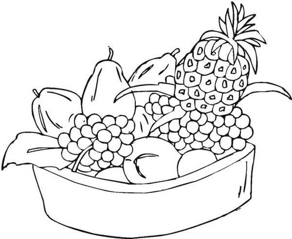 600x492 Mixed Fruit In One Bowl Coloring Page