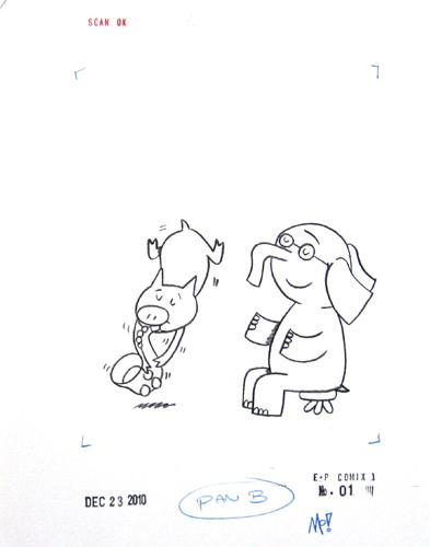 393x500 Mo Willems, Elephant Amp Piggie 9 X 12, Charcoal Pencil