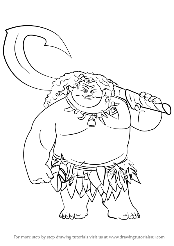 599x846 Learn How To Draw Maui From Moana Step By Drawing