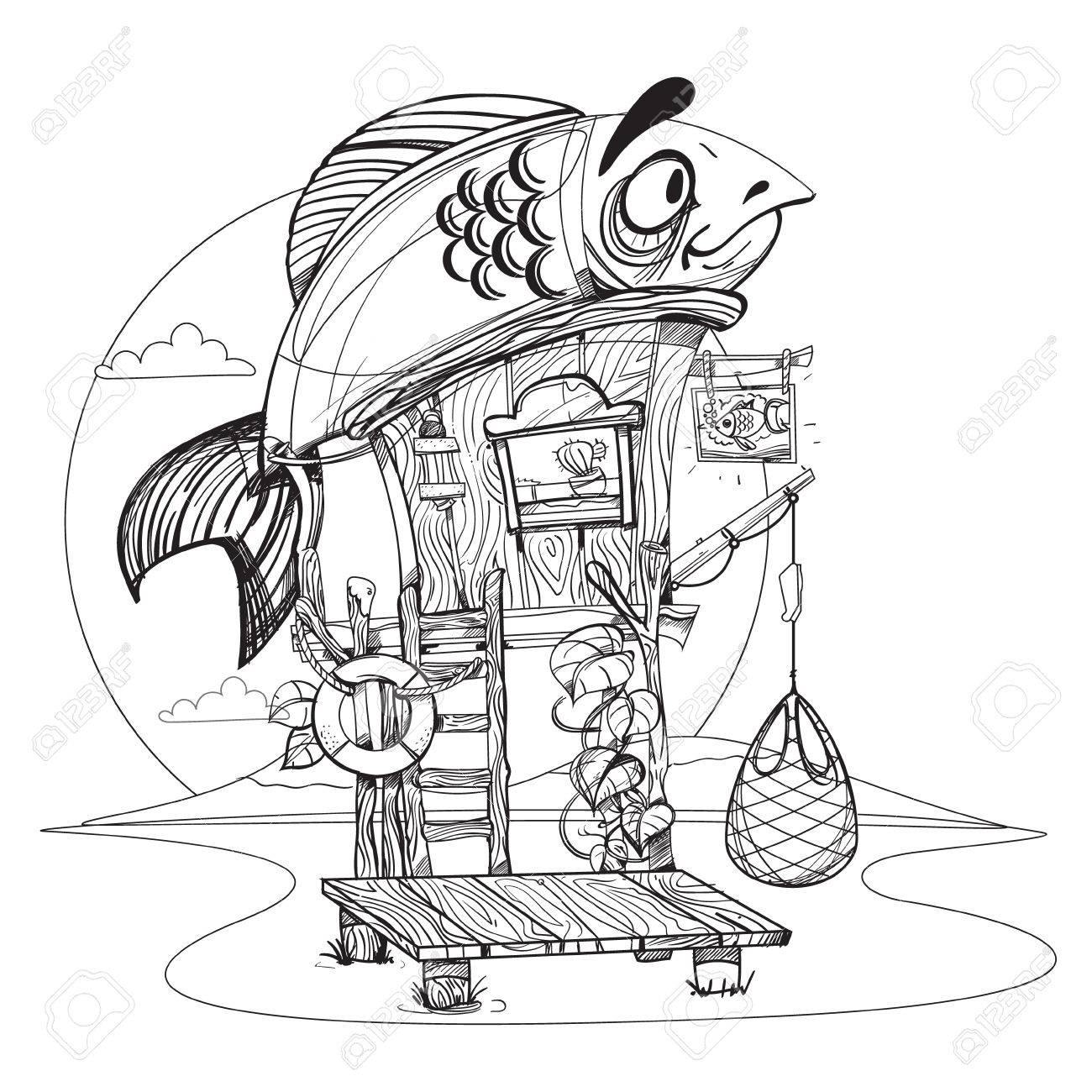 1300x1300 House Fisherman. Cartoon Illustration Of A Wooden Hut On Stilts