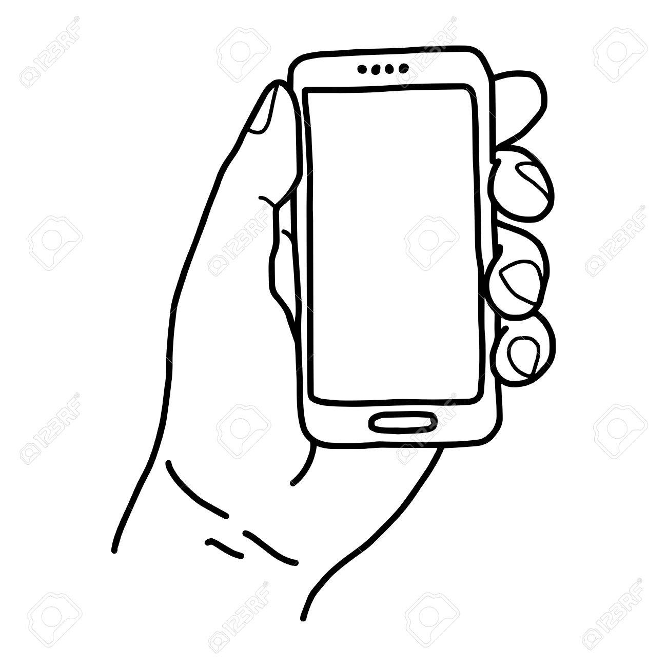 1300x1300 Left Hand Holding Small Mobile Phone