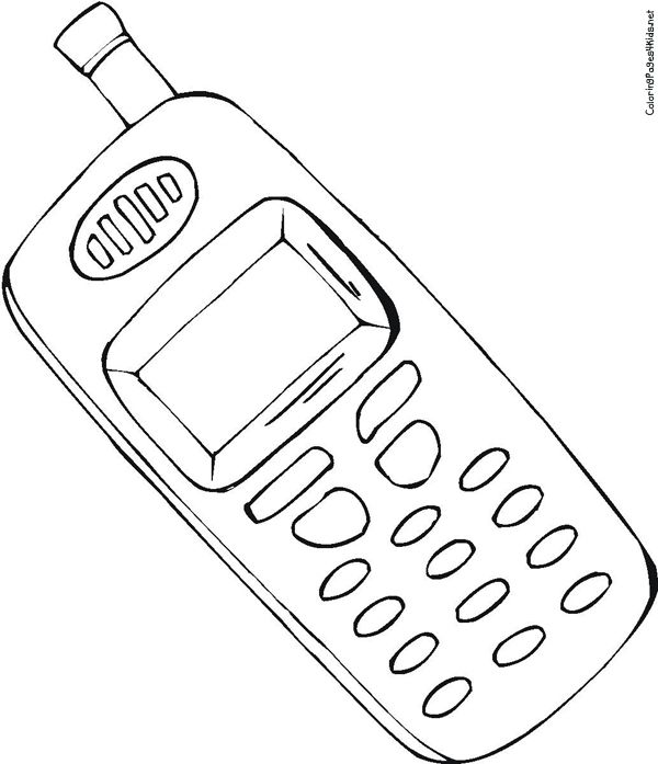 600x697 Mobile Phone Coloring Pages For Kids Cure Draw Photo Cell 3