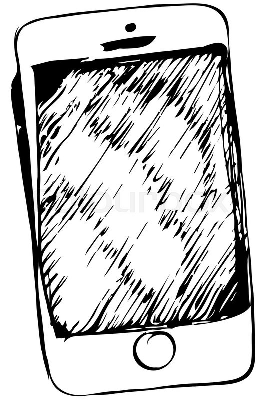 533x800 Black And White Vector Sketch Of Touchscreen Mobile Phone Stock
