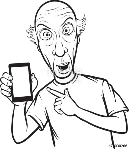 434x500 Line Drawing Of A Shocked Bald Man Showing A Mobile App On A Sma