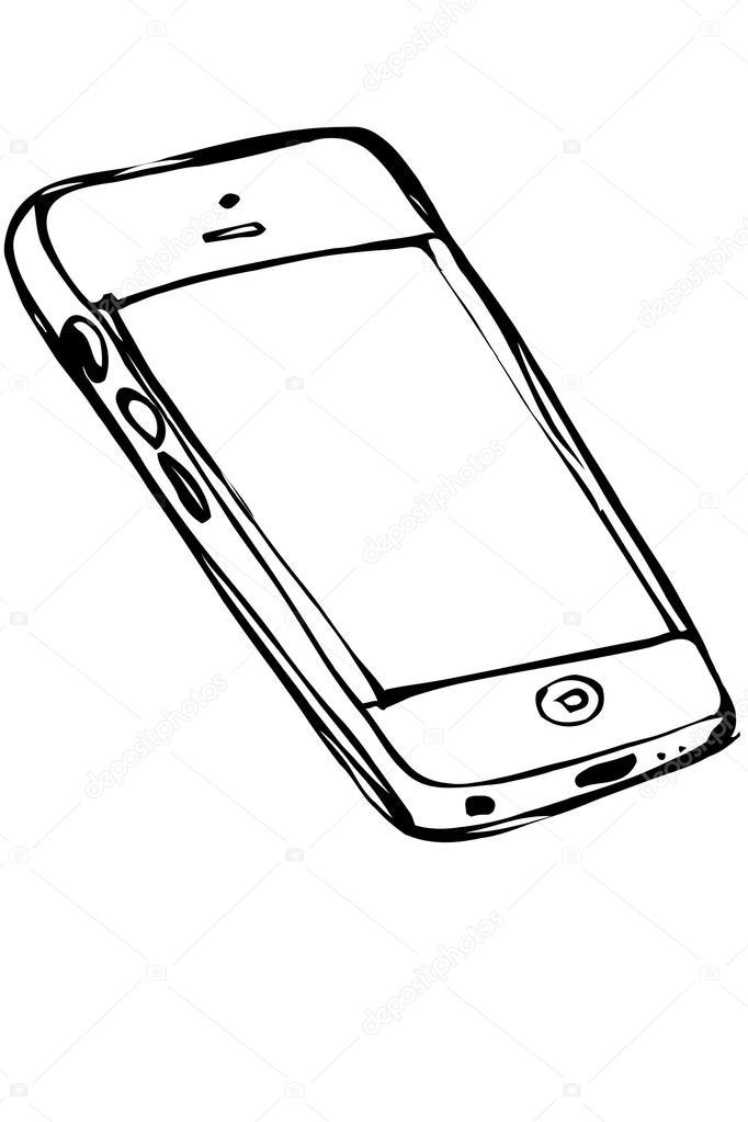 682x1023 Sketch Of Touchscreen Mobile Phone Stock Vector Artex67