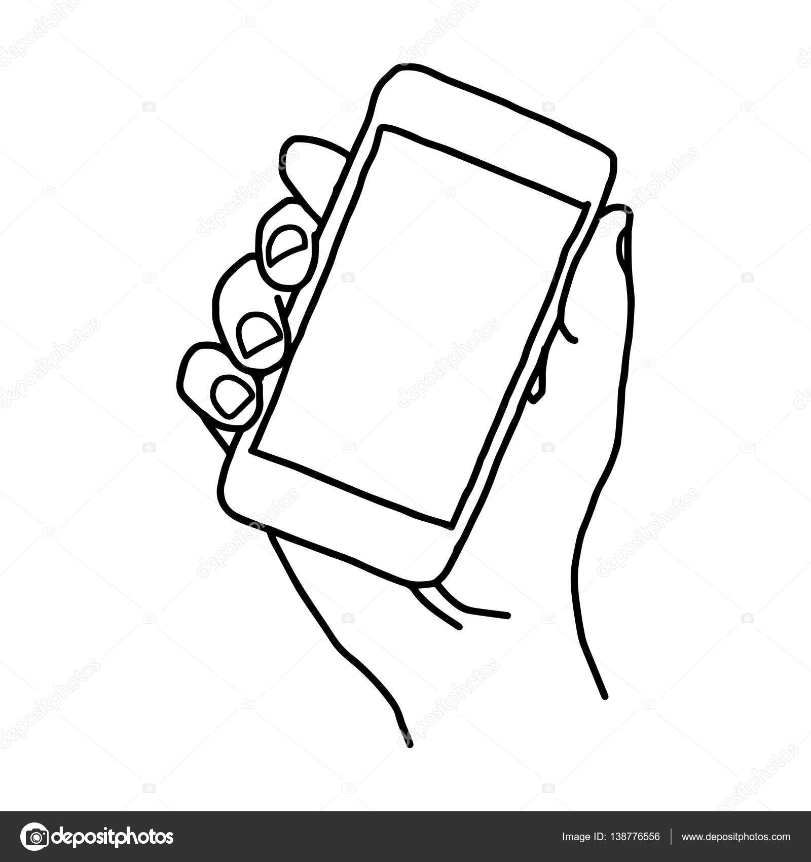 1600x1700 Vector Doodle Hand Drawn Sketch Of Human Right Hand Holding Smart