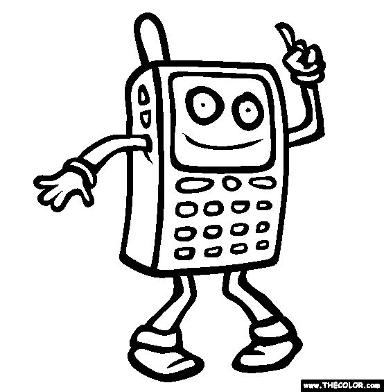 554x565 Cell Phone Coloring Page