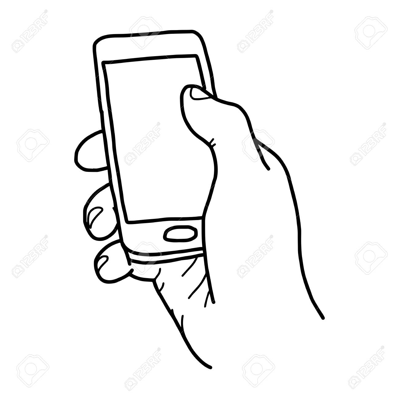 1300x1300 Right Hand Holding Small Mobile Phone With Blank Space