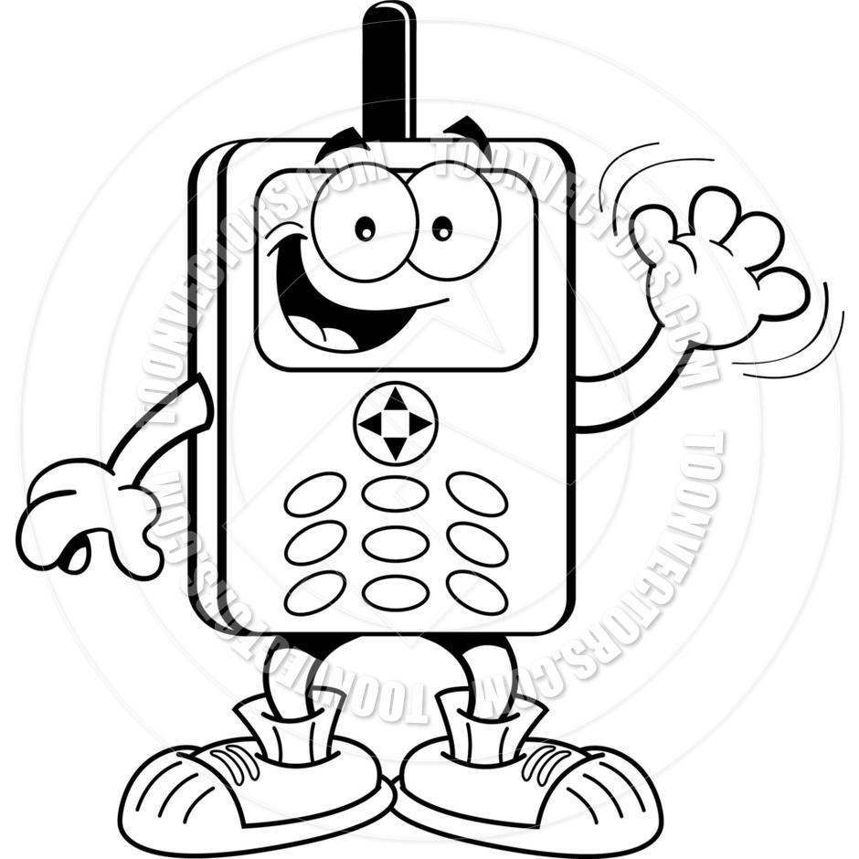 940x940 Cartoon Cell Phone (Black Amp White Line Art) By Kenbenner Toon