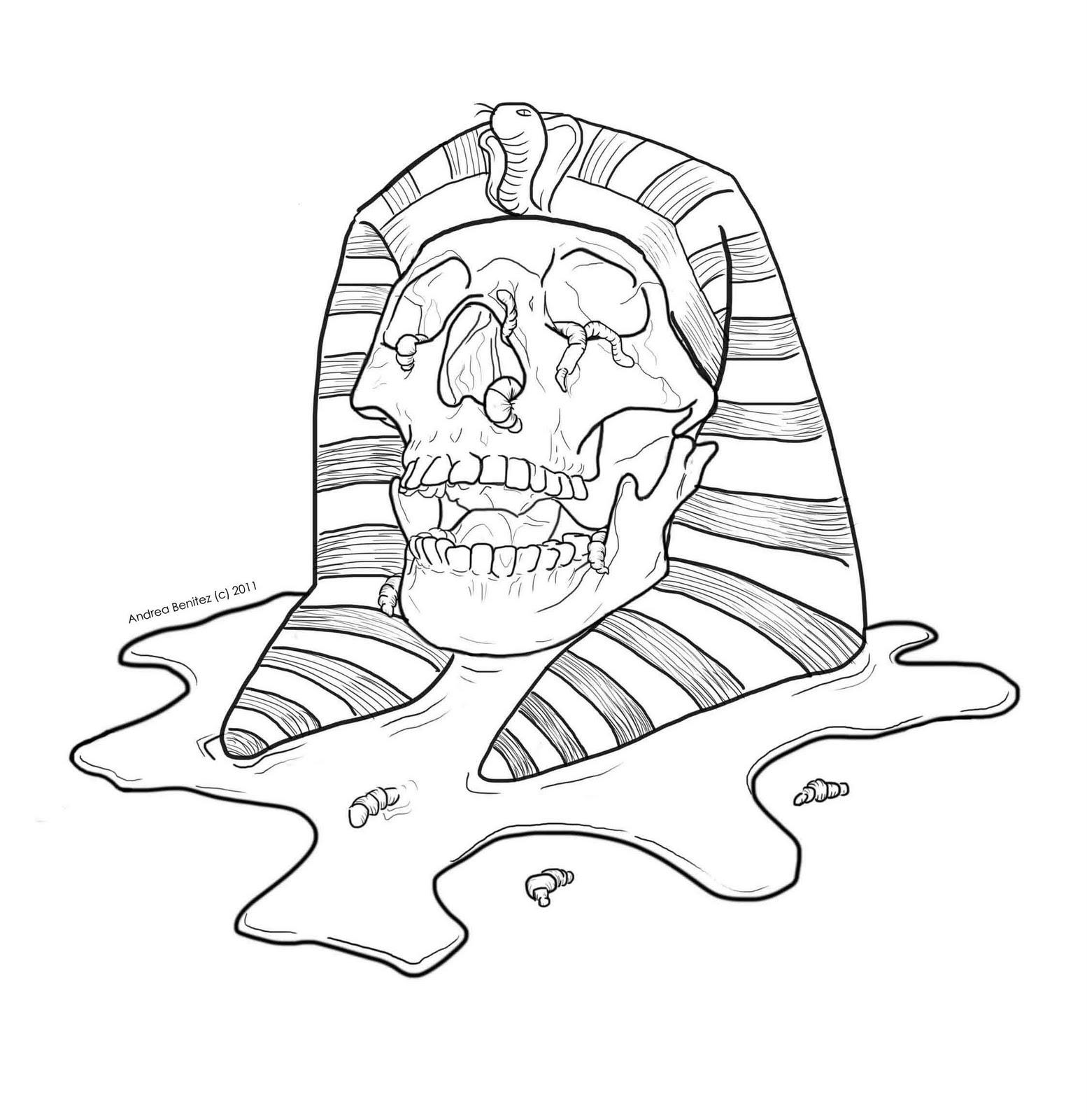 1554x1600 Line Drawing Mummy Skull