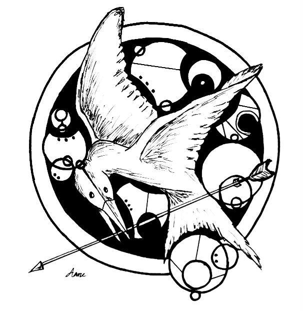 606x621 Mockingjay Gallifreyan Art By Flyernerd