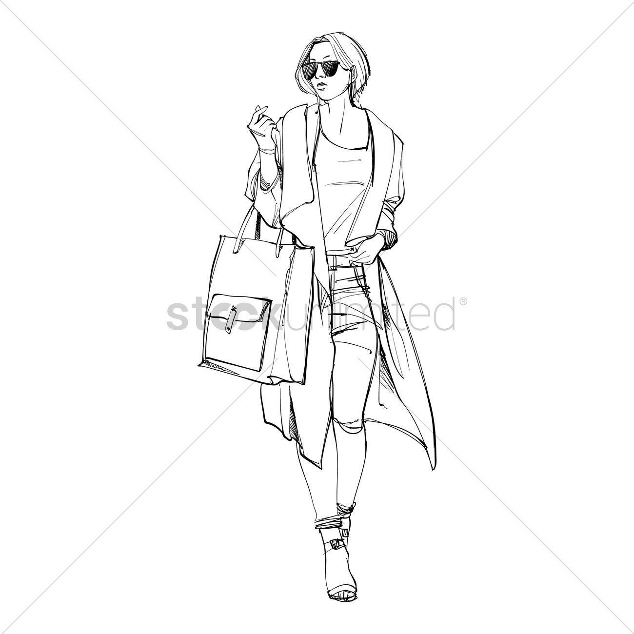 1300x1300 Fashion Model Sketch Vector Image