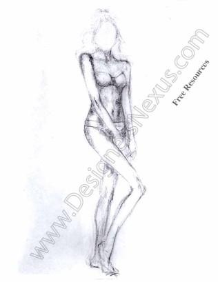 316x409 Freehand Fashion Figure Model Drawing V8